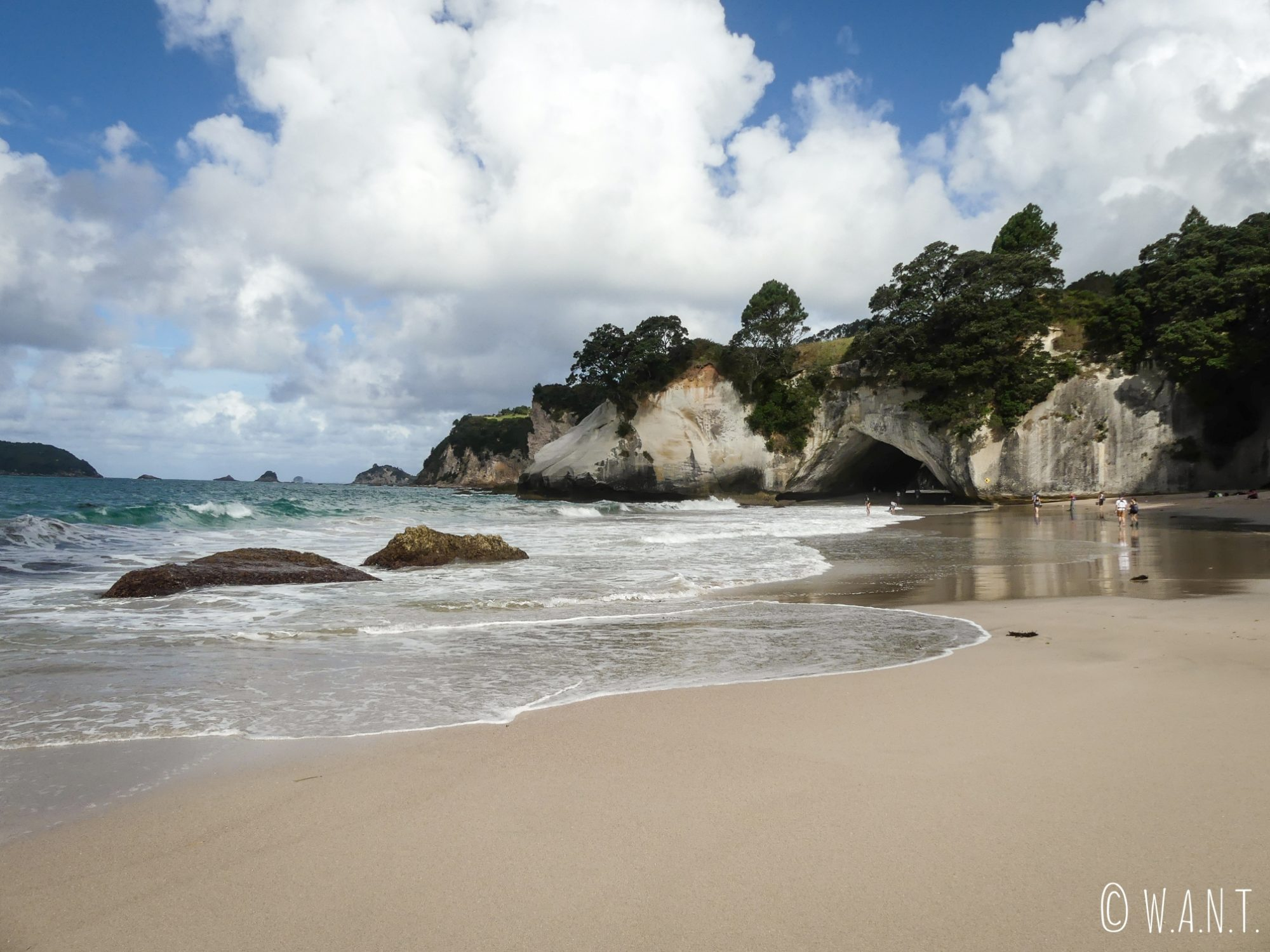 En traversant l'arche de Cathedral Cove, nous débarquons sur cette superbe plage