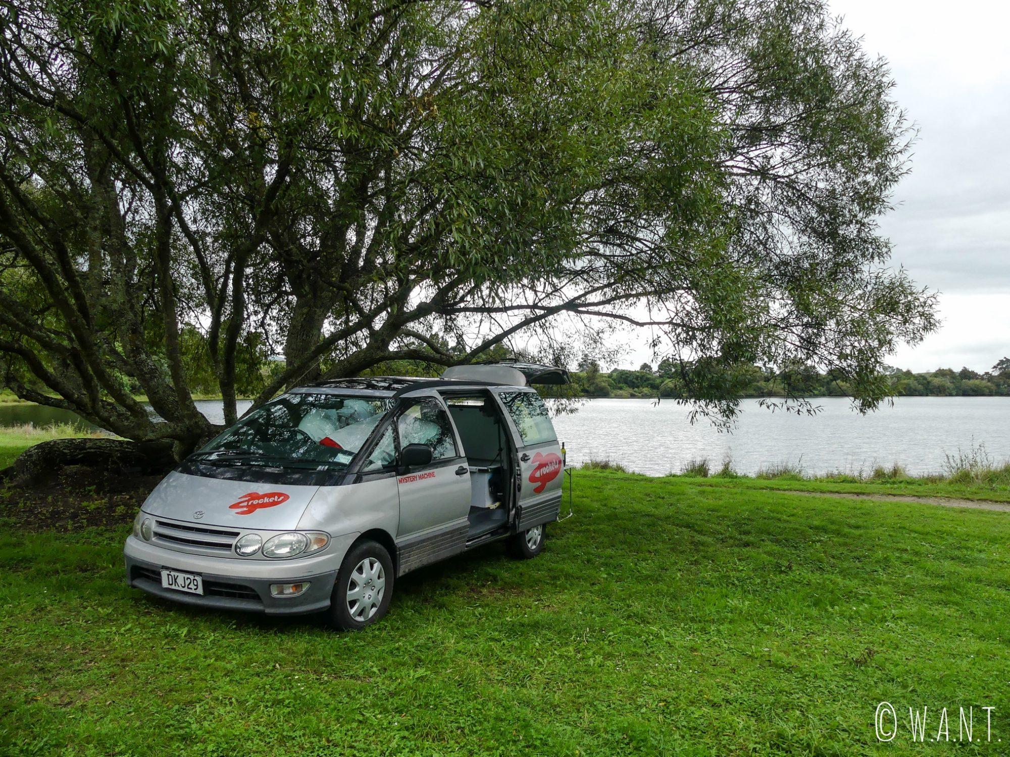 Notre campement pour la nuit au camping Okaro Lake, sur l'île du nord de la Nouvelle-Zélande