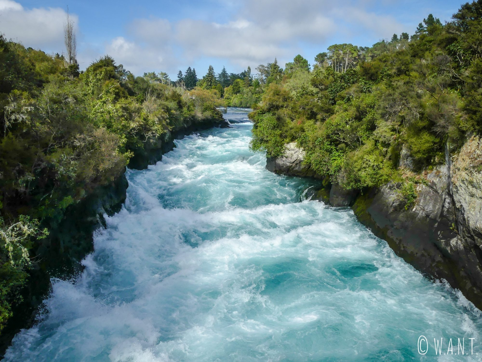 Nous avons rejoints les Huka Falls à pied depuis notre camping, à Taupo en Nouvelle-Zélande