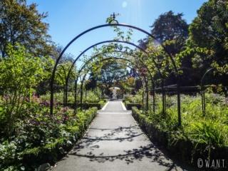 Promenade au milieu des fleurs du Queen's Gardens de Nelson sur l'île du sud de la Nouvelle-Zélande