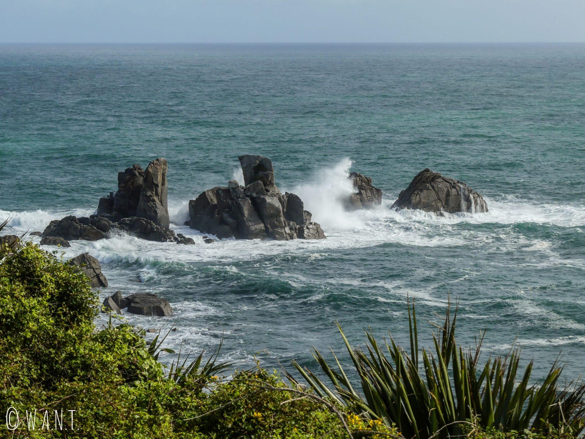 Rochers immergés au Cape Foulwind en Nouvelle-Zélande