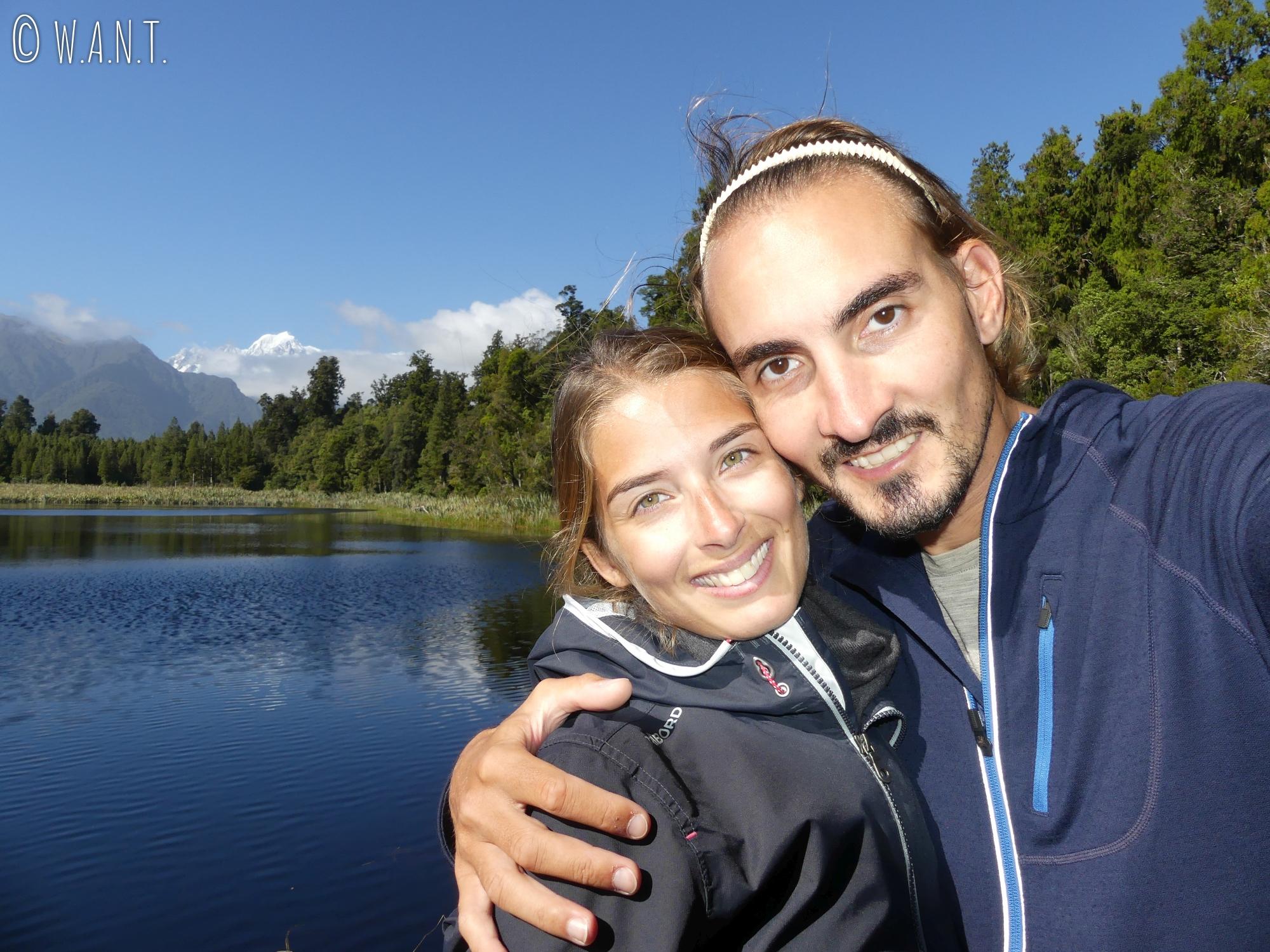 Selfie au lac Matheson en Nouvelle-Zélande