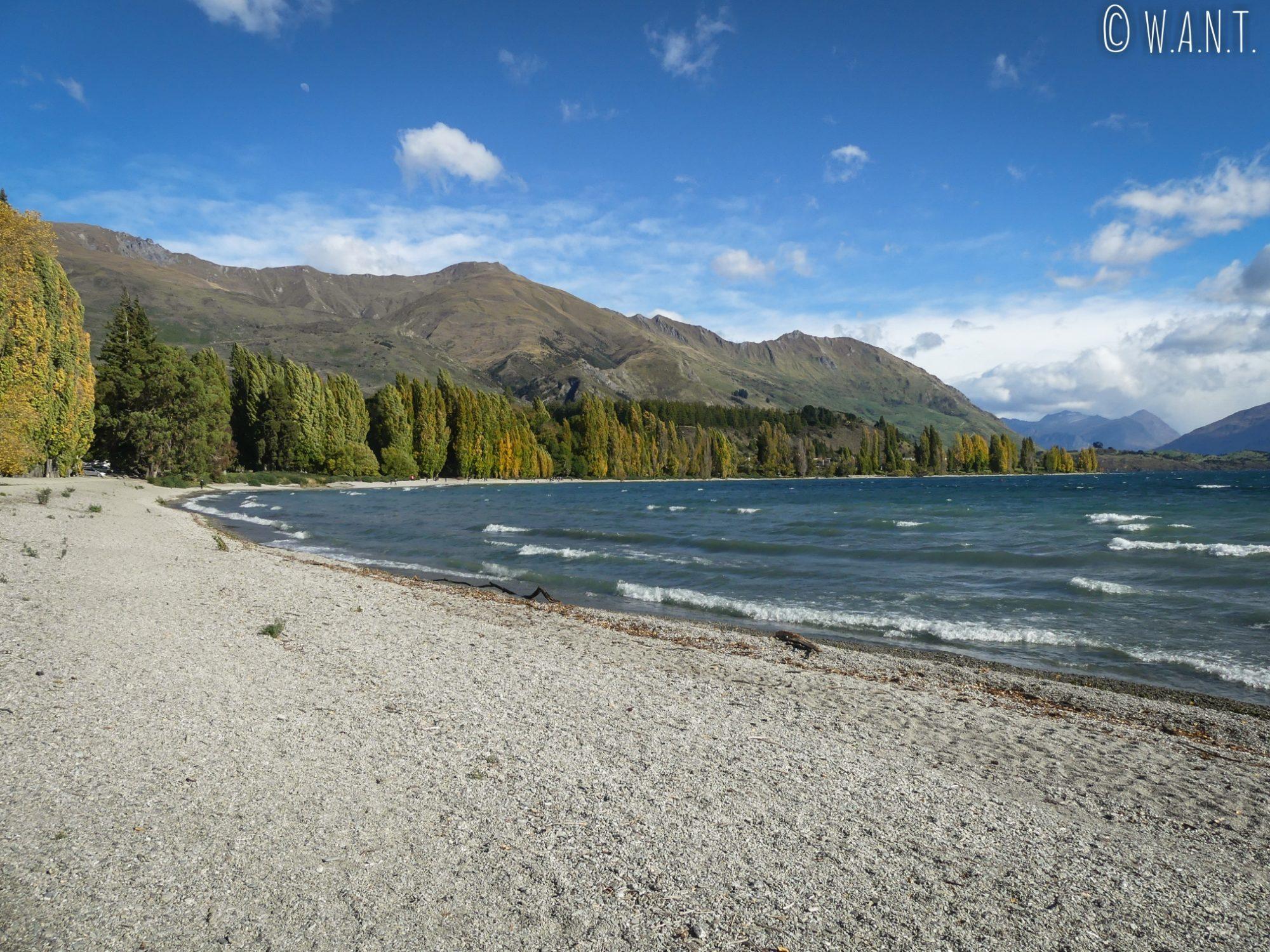 Promenade automnale le long du lac Wanaka en Nouvelle-Zélande