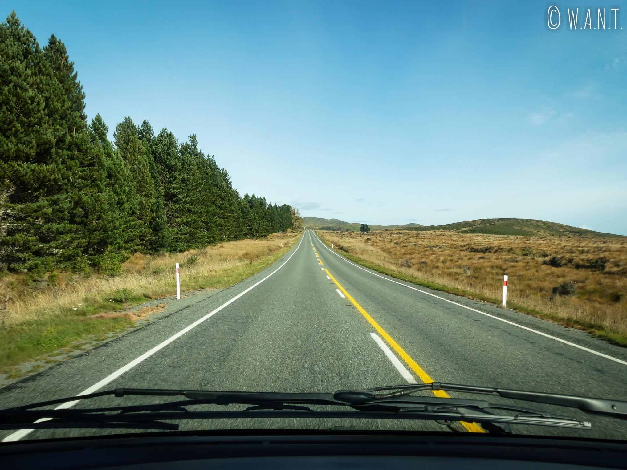 En route pour la ville de Te Anau en Nouvelle-Zélande
