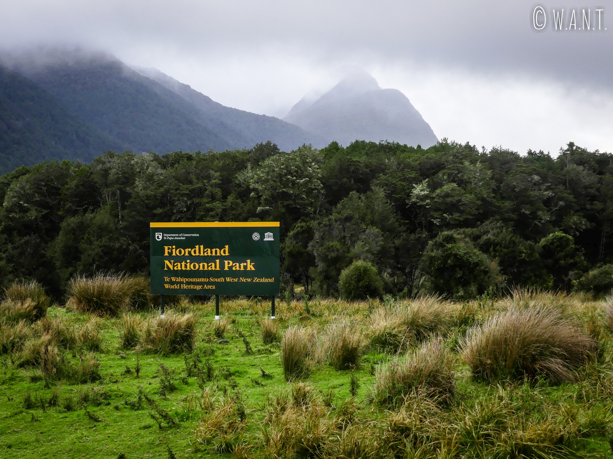 Entrée du Fiordland National Park en Nouvelle-Zélande